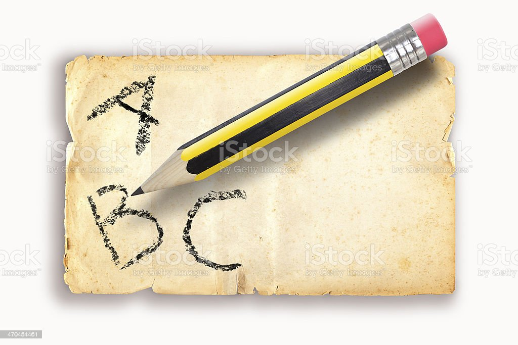 ABC with Pencil writing on old paper royalty-free stock photo