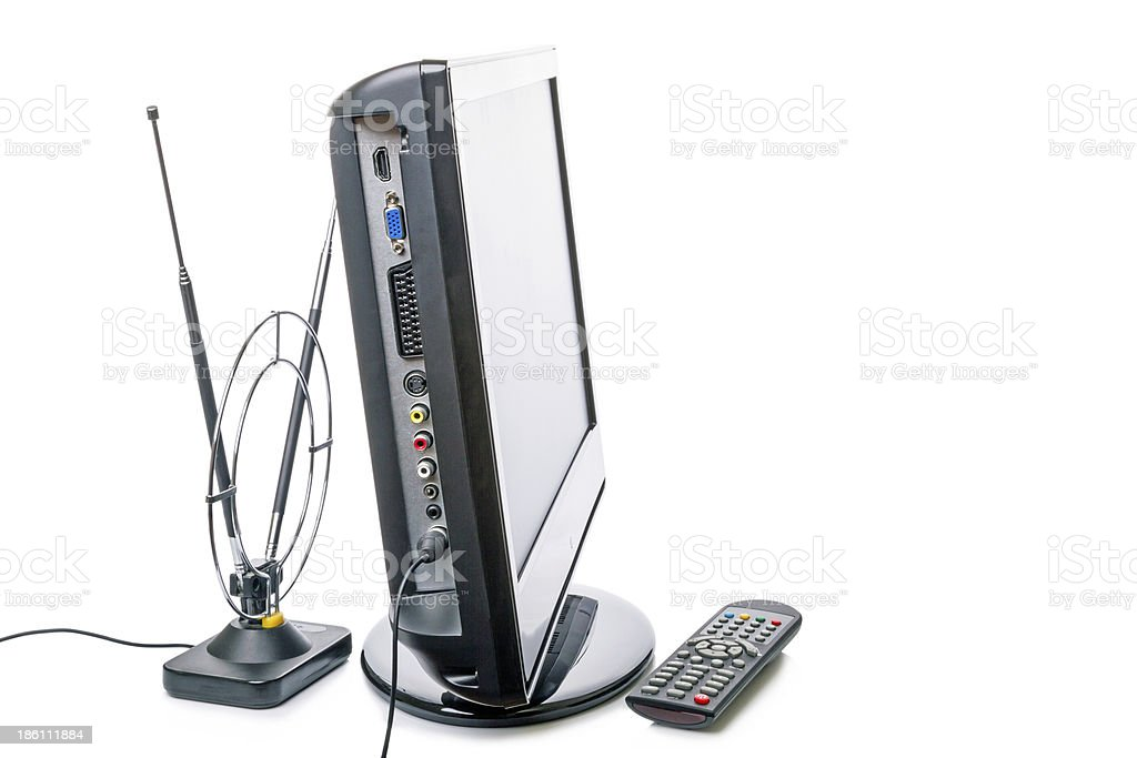 TV with remote control and antenna royalty-free stock photo