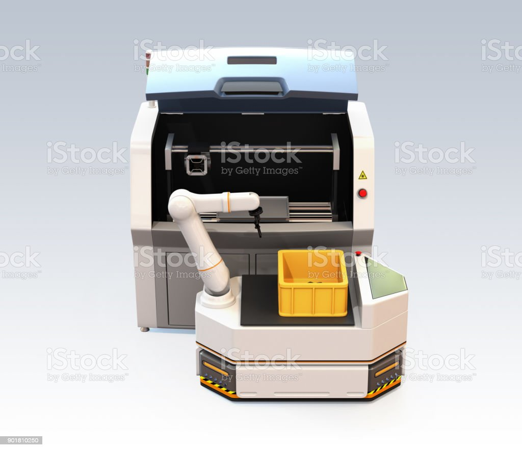 AGV with robotic arm and 3D metal printer isolated on gray background stock photo