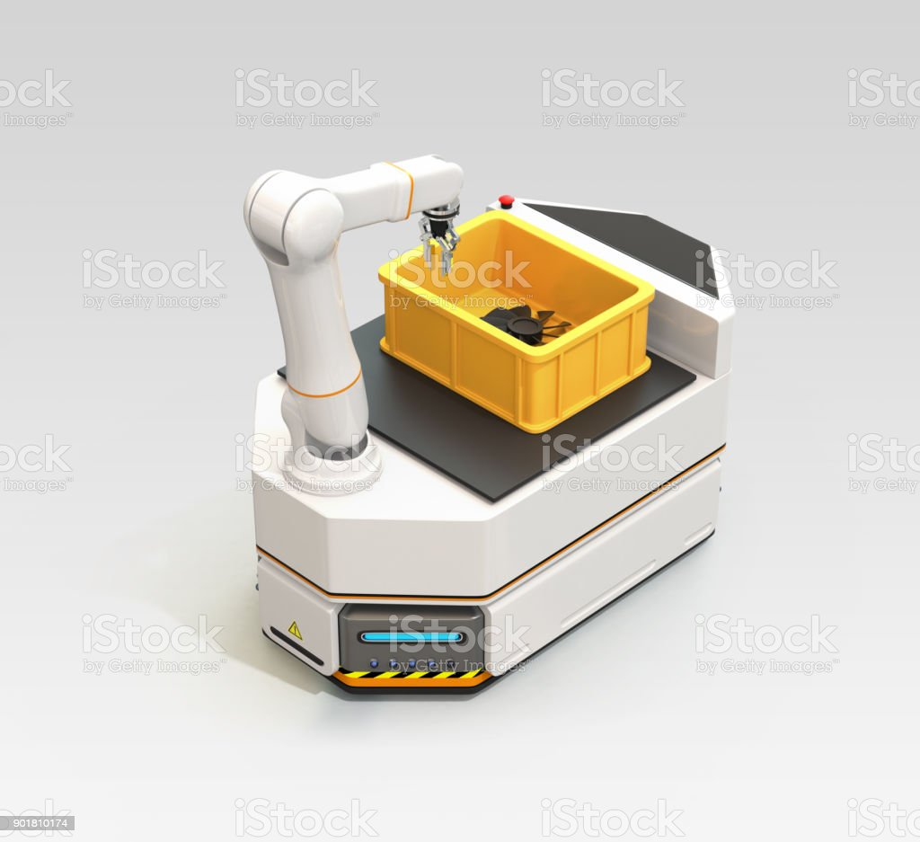AGV with robotic arm isolated on gray background stock photo