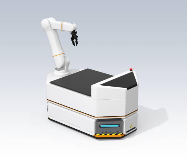 AGV mit Roboterarm auf grauem Hintergrund isoliert – Foto