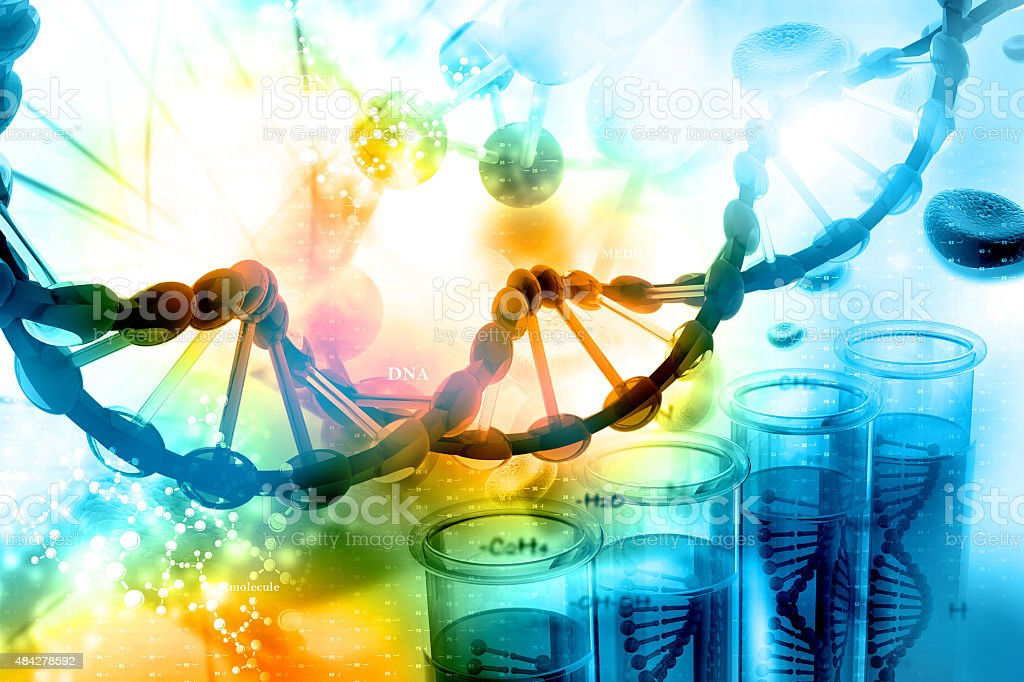 DNA with scientific background stock photo