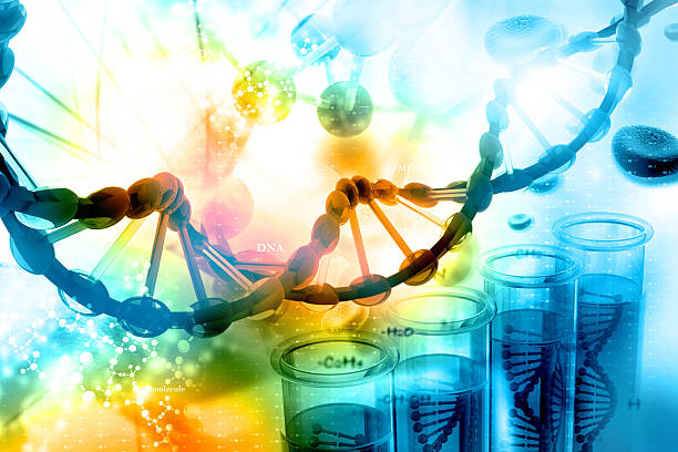 DNA with scientific background Digital illustration of DNA with scientific background stem cell stock pictures, royalty-free photos & images