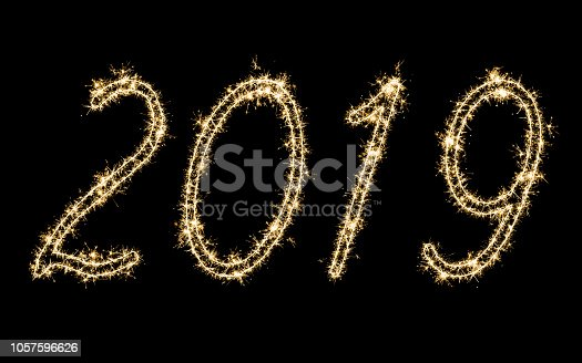 istock 2019 with sparkler 1057596626