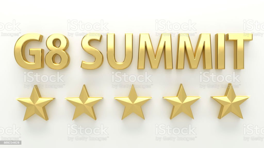 G8 SUMMIT - with stars on white background - High quality 3D Render stock photo