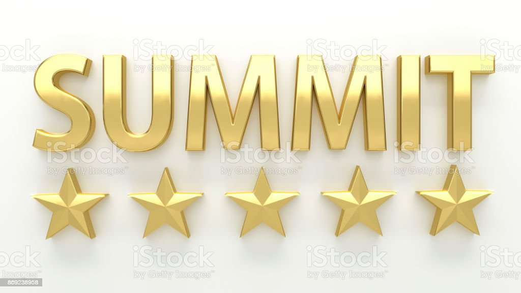 SUMMIT - with stars on white background - High quality 3D Render stock photo