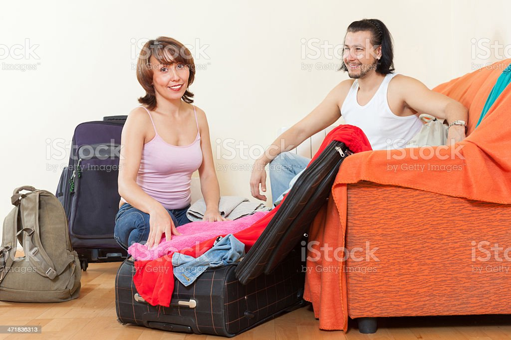 with suitcases near door at home royalty-free stock photo