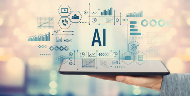 AI with tablet computer stock photo