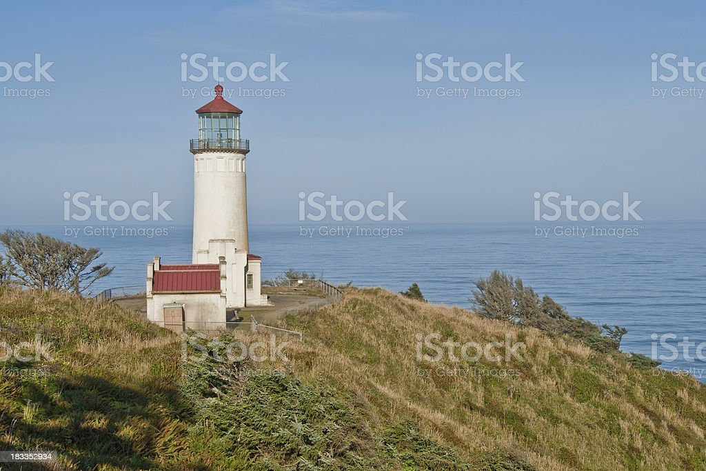 North Head Lighthouse Overlooking the Pacific Ocean stock photo
