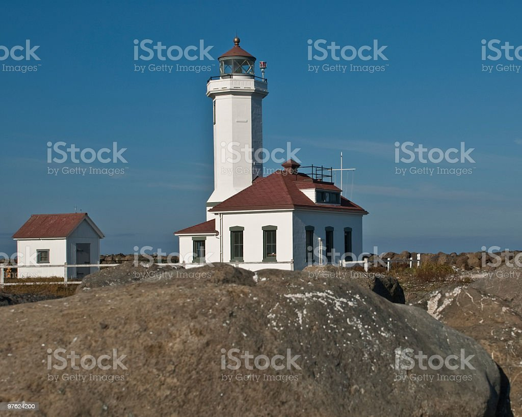 Point Wilson Lighthouse and Rocky Shore royalty-free stock photo