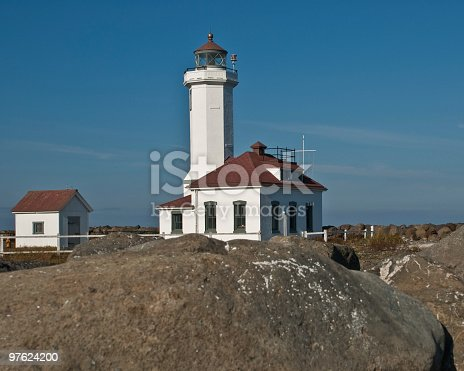 Point Wilson Lighthouse And Rocky Shore Stock Photo & More Pictures of Architecture
