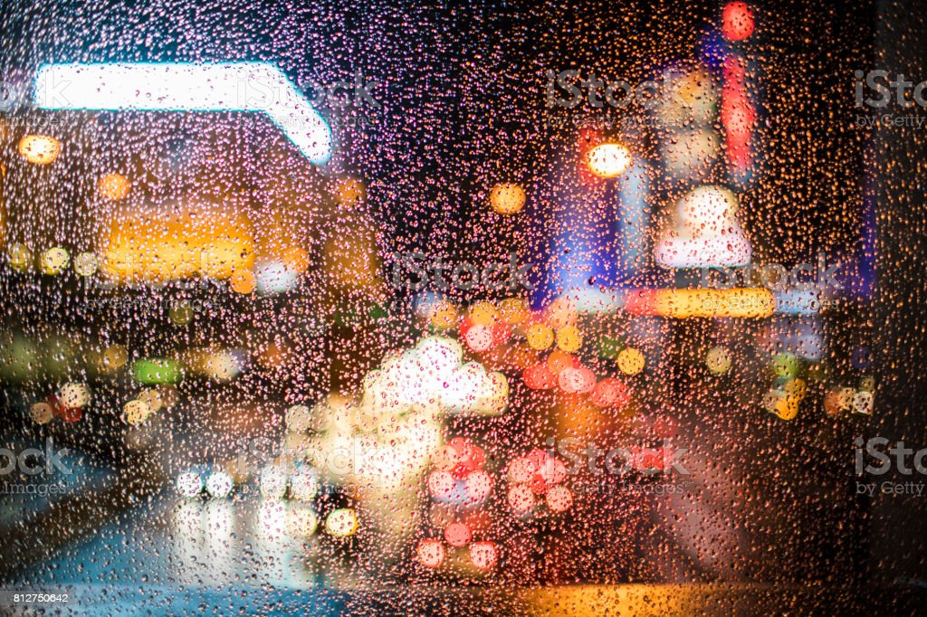 With the focus on foreground, a look at the famous Las Vegas Boulevard, called The Strip, on a rainy December night. stock photo