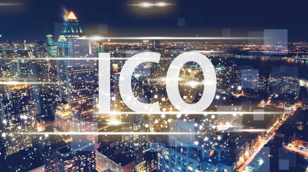 ICO with the New York City skyline ICO with the New York City skyline at night initial coin offering stock pictures, royalty-free photos & images
