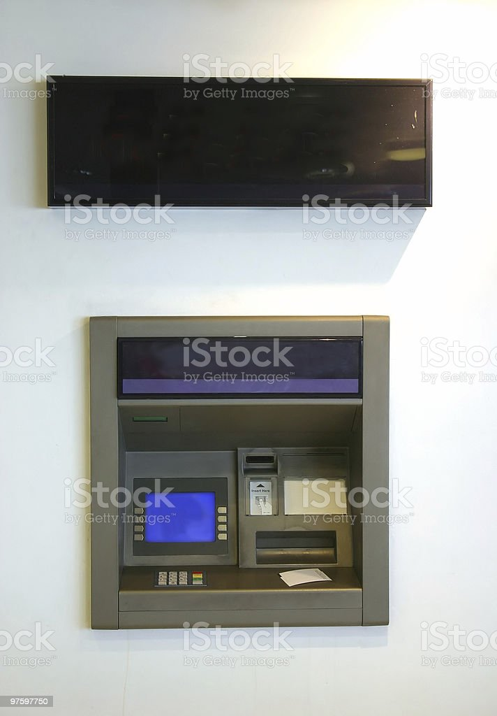 ATM with ticket royalty-free stock photo