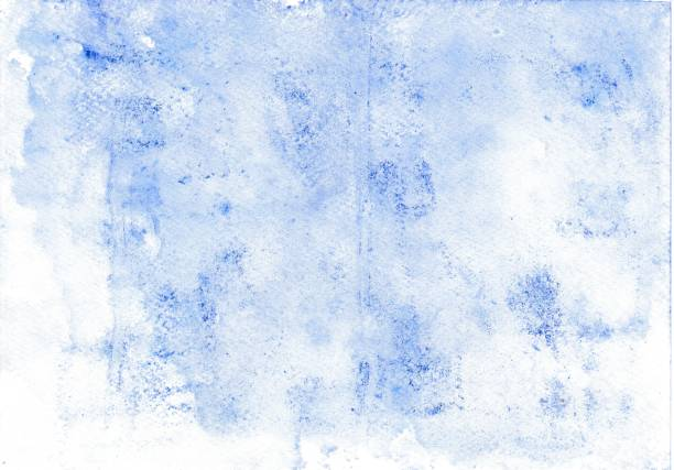 With wax chalk crayons painted watercolor wash background foil print in blue stock photo