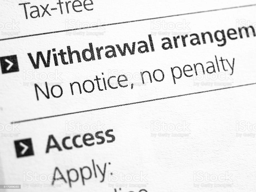 Withdrawal arrangement stock photo
