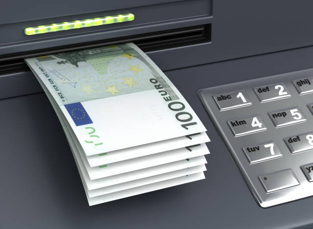 Withdrawal European Euro From The ATM stock photo
