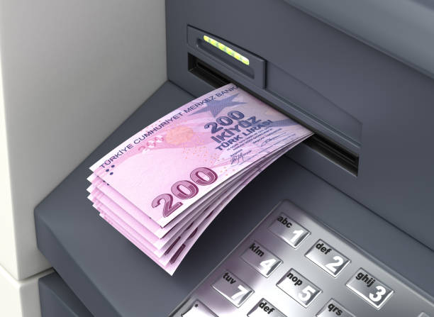 Withdrawal Turkish Lira stock photo