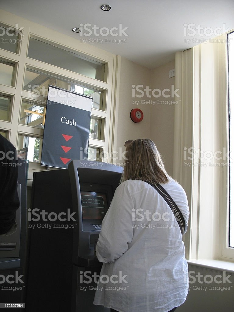 Withdrawing cash from the ATM royalty-free stock photo