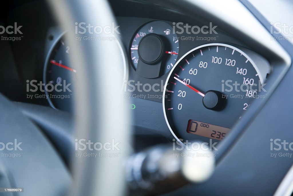 Within Speed Limit Car Dashboard royalty-free stock photo