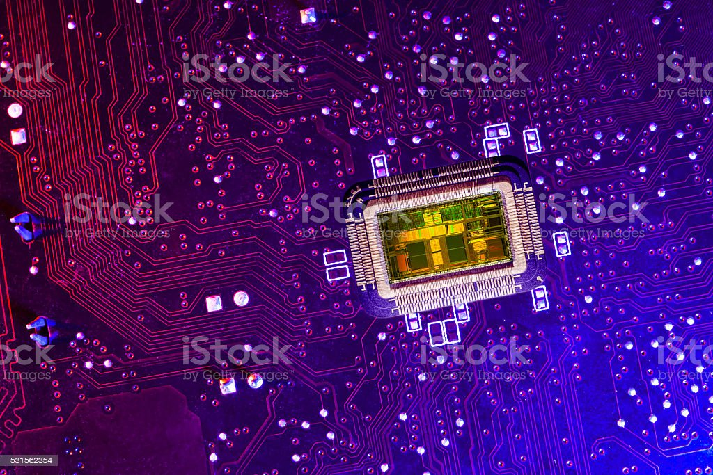 PCB witn CPU core. stock photo