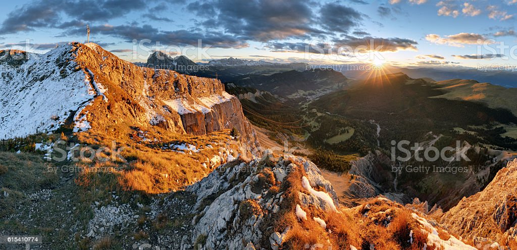 Witner autumn mountain at sunset, Val Gardena, Seceda, Dolomites. stock photo