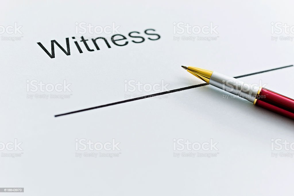 Witness Contract Form Stock Photo More Pictures Of Agreement Istock