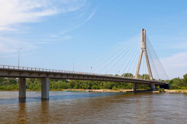 Świętokrzyski Bridge in Warsaw stock photo