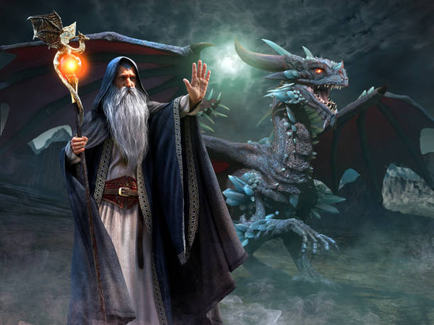 Wizard and dragon scene 3d illustration Wizard and dragon scene 3d illustration dragon stock pictures, royalty-free photos & images