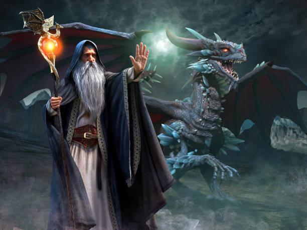 ilustración 3d de mago y dragon escena - dragón fotografías e imágenes de stock