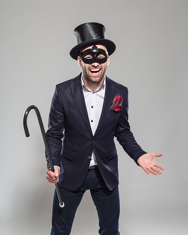 Wizard Excited Bearded Man Wearing Top Hat And Carnival Mask Stock Photo - Download Image Now