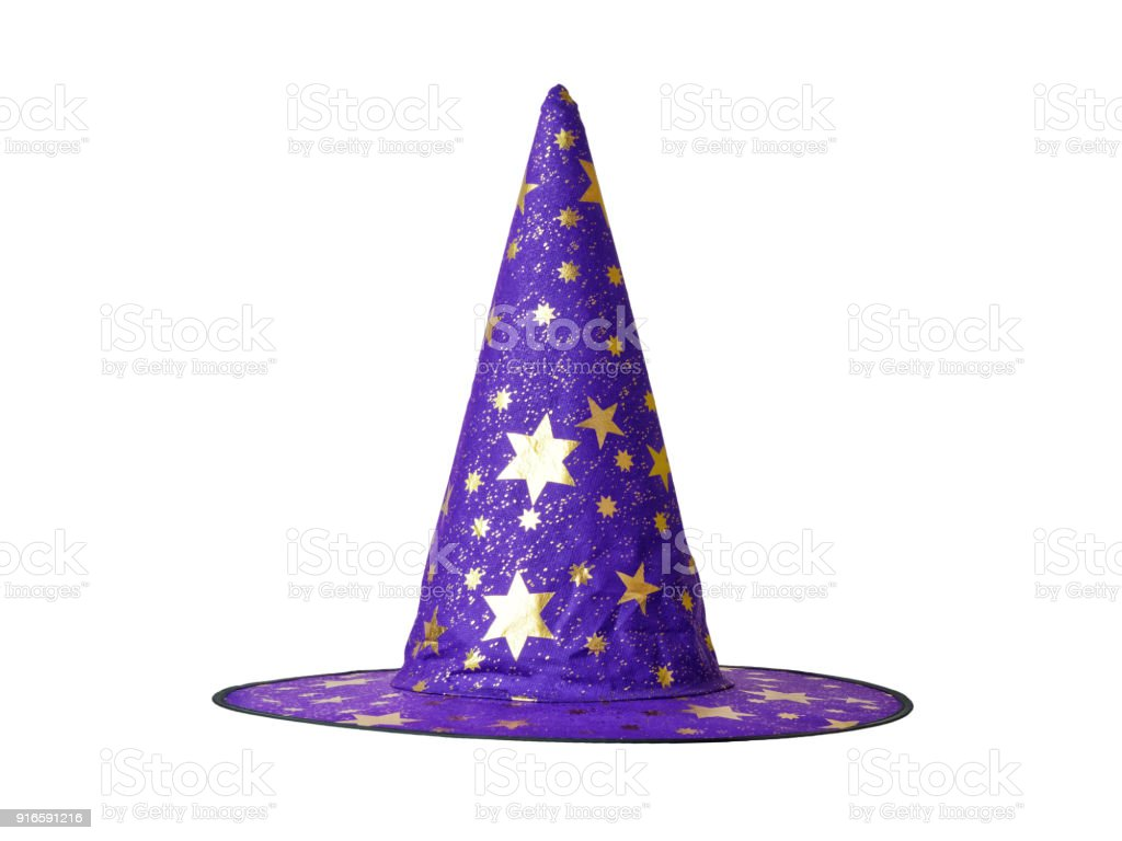 Wizard hat with stars isolated stock photo
