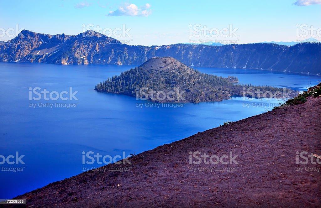 Wizard Island Blue Crater Lake Black Rim Oregon Stock Photo