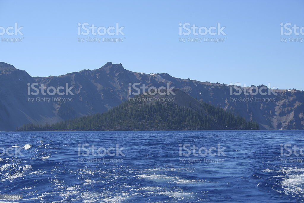 Ilha Wizard, Parque nacional do lago de Crater foto de stock royalty-free