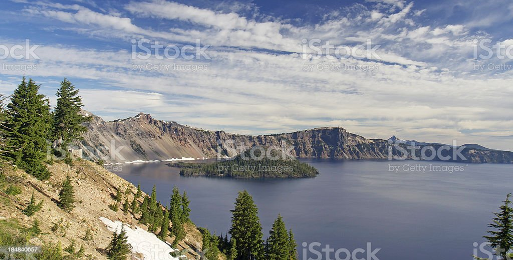 wizard island in crater lake stock photo