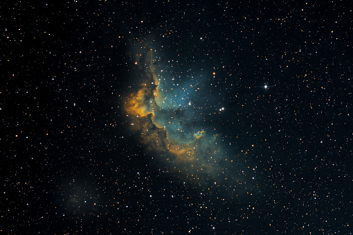 NGC7380 nebula also know as Wizard in HST palette taken with dedicated astrophotography camera on the telescope