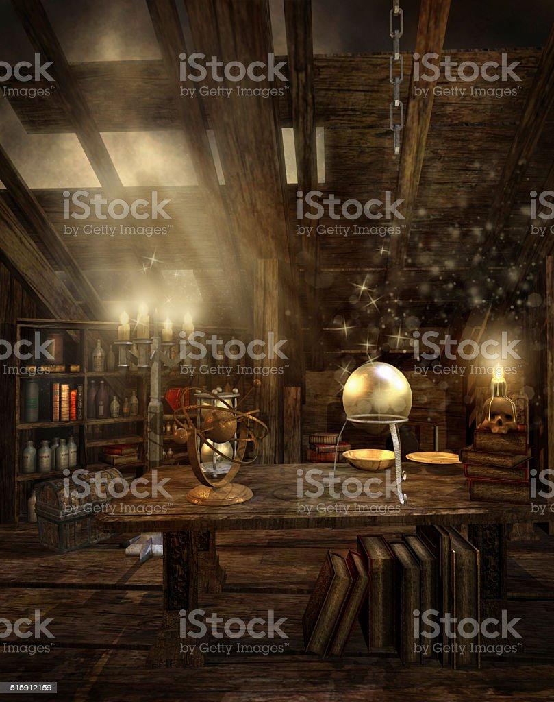Wizard's attic stock photo