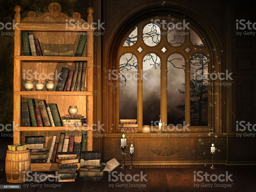 Wizard's library stock photo