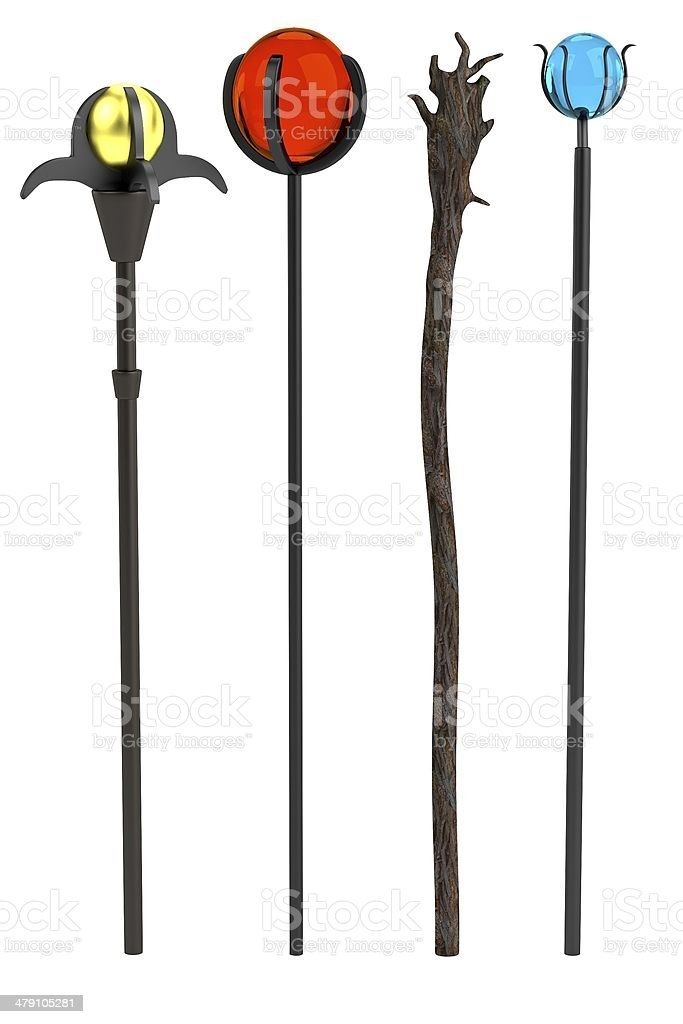 wizards staffs stock photo