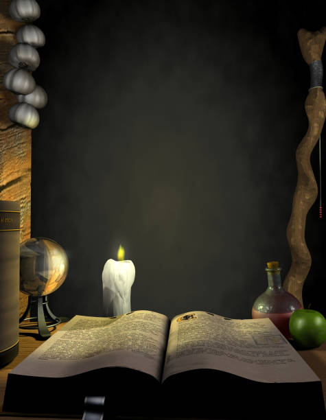 Wizard's Study A 3D rendering of a spell book and other wizarding accoutrements. Lots of space for your own magical copy! I'd love to hear how this image is used... please feel free to add a comment to the ratings or drop me a site mail.  Thanks! arcane stock pictures, royalty-free photos & images