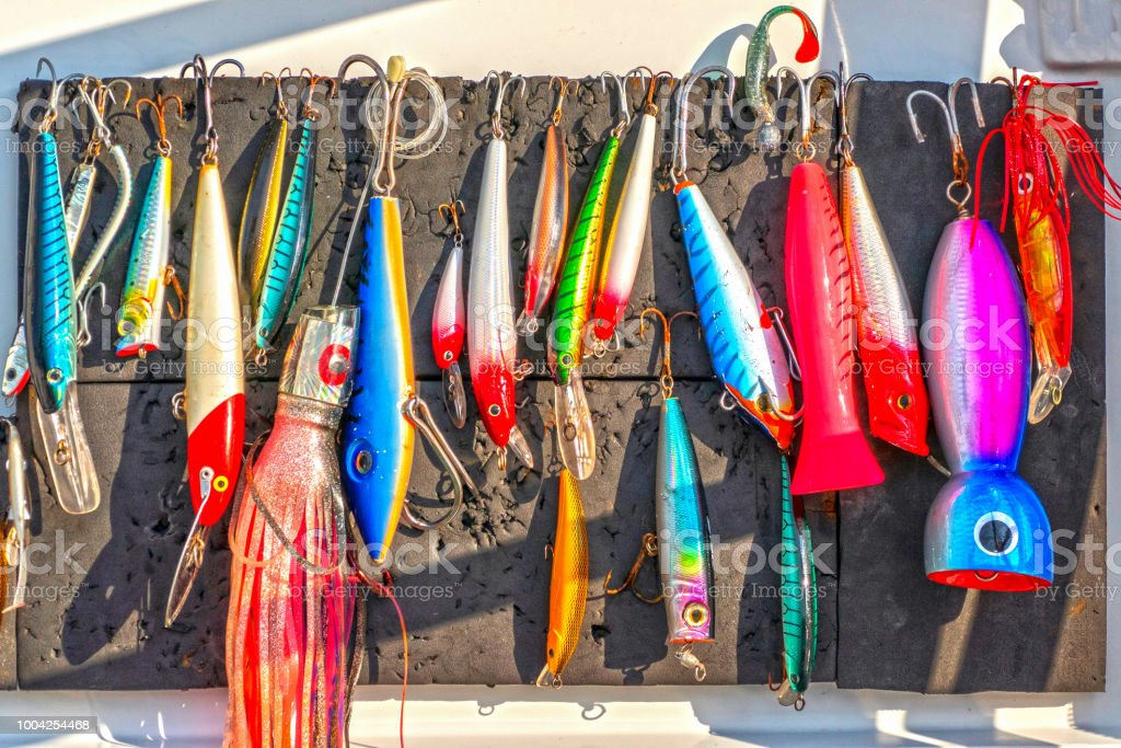 Wobbler - blinker set on a fishing boat stock photo