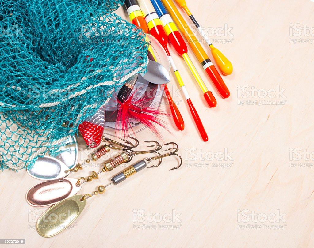 wobbler, floats and fishing accessories royalty-free stock photo