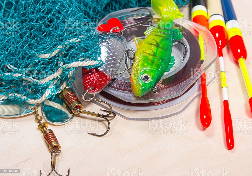 wobbler, floats and fishing accessories stock photo