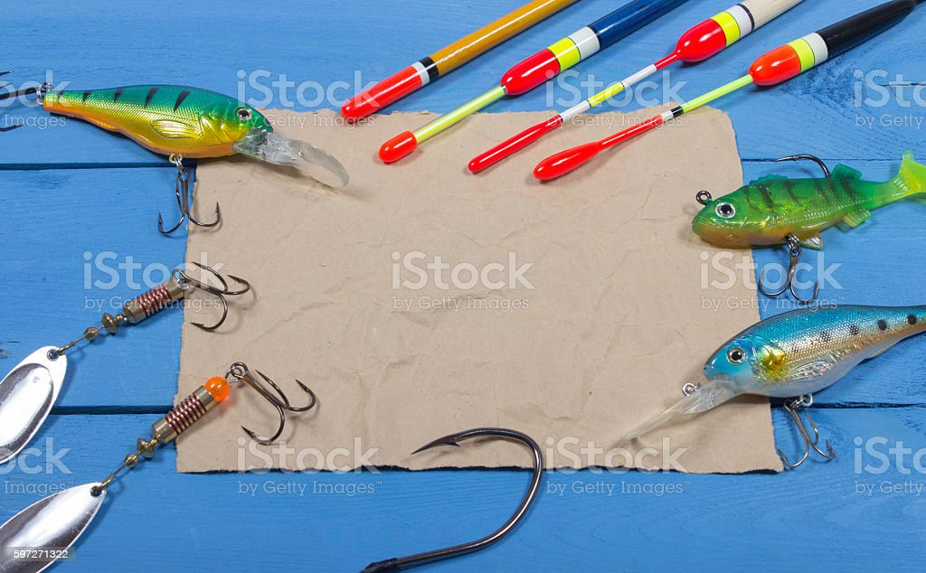 wobbler, floats and fishing accessories with space for inscription stock photo