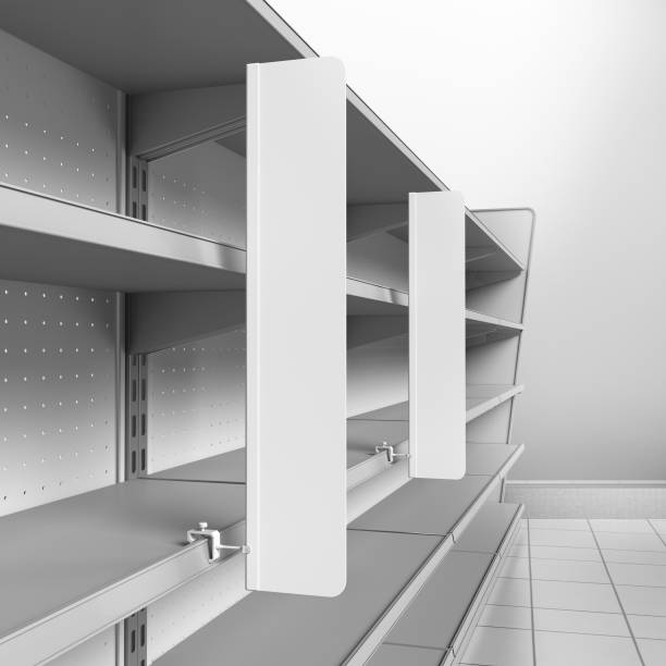 Wobblers attached to shelf stock photo