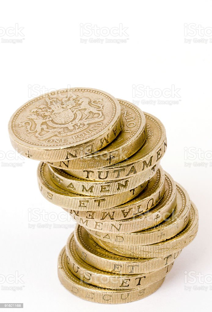 Wobbly pile of pounds royalty-free stock photo