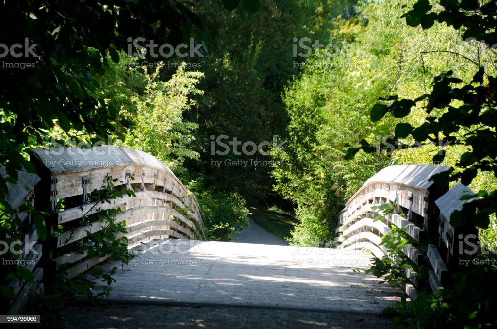 Wodden bridge on Foster Point trail near Seattle arboretum stock photo