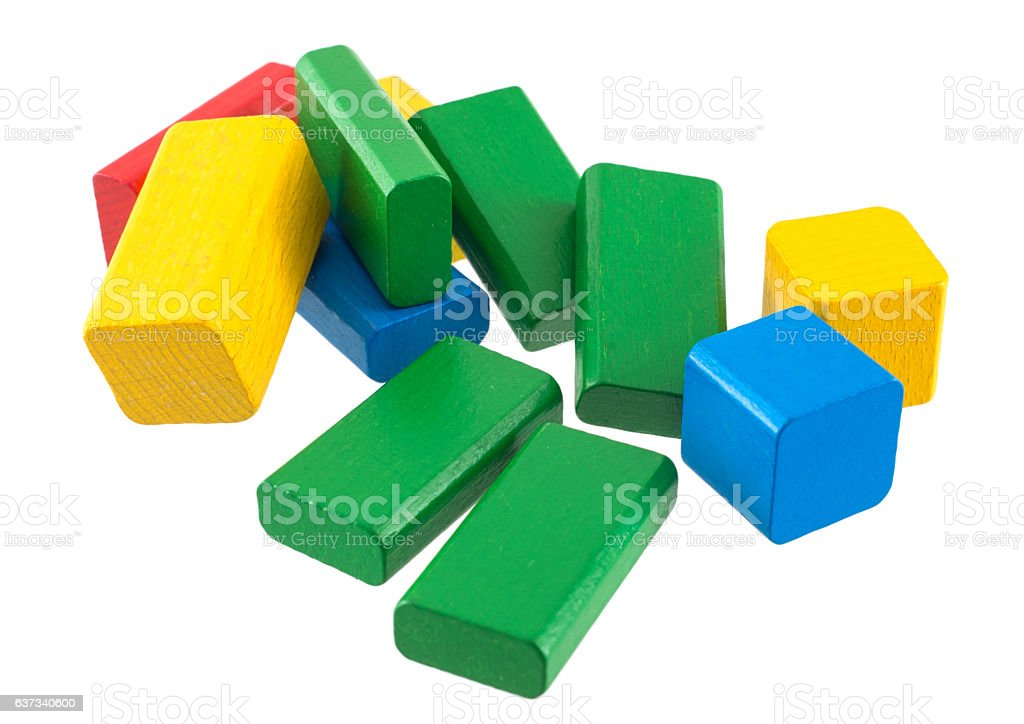 wodden buiding bricks stock photo