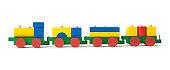 istock wodden colored toy train - bunte Holzeisenbahn 157739912