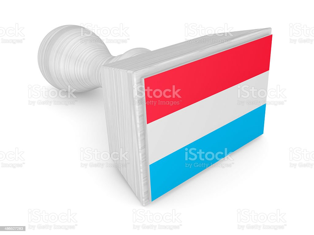 Woden stamp with luxembourgian flag. royalty-free stock photo